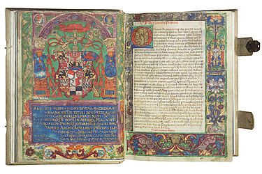 Two-page spread in the Brevarium Hallense showing the coat of arms of Cardinal Albert of Brandenburg, Elector and Archbishop of Mainz. Halle, 1532 | SBB, Msc.Lit.119, fols. 10v-11r