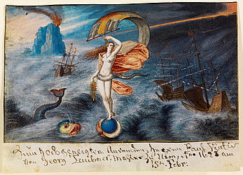 Fortuna on the Sea, depicted on a single leaf from an unknown album. Gouache by Georg Taubner, 1628 | I R 124