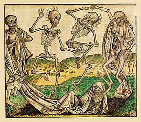 Danse macabre. Colourised woodcut, ca. 1500 | SBB, VI Aa 46