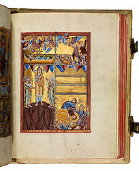 The page shows Christ child in the crib and the annunciation to the shepherds; at the bottom, the transfiguration of Christ is shown. Miniatures accompanying the prologue of John. Cologne, 2nd quarter of the 11th century | SBB, Msc.Bibl.94, fol. 155r
