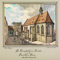 The church St. Elizabeth with the Sandertor in Bamberg. Watercolour painting by Carl Meinelt, 1888 | SBB, MvO A I 113