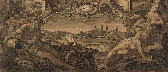 Die von den Flussgöttern Main und Regnitz begleitete Vedute von Bamberg. Kupferkalender des Bamberger Domkapitels für das Jahr 1800 | SBB, MvO D II 107