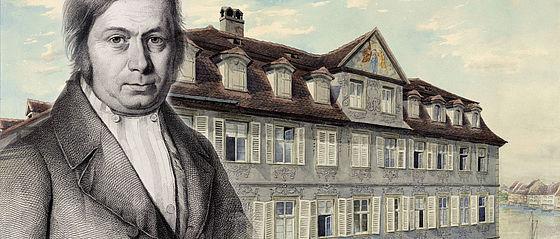 Joseph Heller und sein Geburtshaus an der Unteren Brücke in Bamberg. Aquarellierte Zeichnung von Andreas Blattner mit einem Porträt des Sammlers von Lazarus Sichling | MvO A I 75 mit HVG 41/147