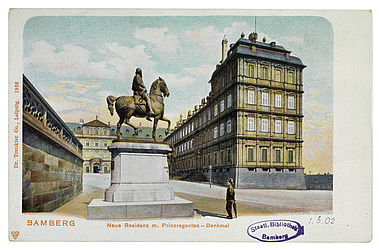 Picture postcard showing the New Residence and the monument of Luitpold, Prince Regent of Bavaria. Leipzig, Trenkler, ca. 1900 | SBB, MvO A VI 602