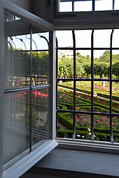 The New Residence's rose garden as seen from a window in the reading room | SBB