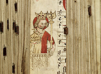 "Portrait of Emperor Henry II, found in the margins of the ""Graduale Bambergense"". Bamberg, early 14th century 