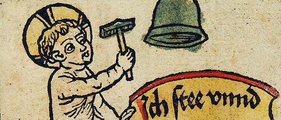 Illustration aus dem Zeitglöcklein-Blockbuch, um 1475 | SBB, Inc.typ.Ic.I.45-a#2, Bl. 1v