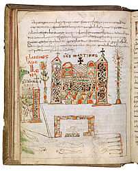 The view of Vivarium monastery with the fish ponds shows the place where Cassidorus retired after his active life as statesman. Drawings in a Cassiodorus manuscript. Montecassino, 4th quarter of the 8th century | SBB, Msc.Patr.61, fol. 29v