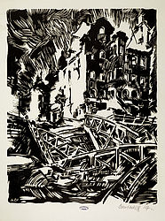 The Chain Bridge in Bamberg destroyed in 1945. Woodcut by Alexej Borutscheff, 1947 | SBB, VI E 68i/1