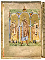 Bearded ruler accompanied by two arch-bishops. Picture of a ruler in the so-called Roman Pontifical of Henry II. Salzburg (?), ca. 1020 | SBB, Msc.Lit.53, fol. 2v