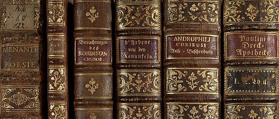 Auswahl diverser Ledereinbände des 18. Jhs. aus der Bibliotheca Bipontina, der Büchersammlung Herzog Karls II. August von Pfalz-Zweibrücken (1746–1795) | SBB