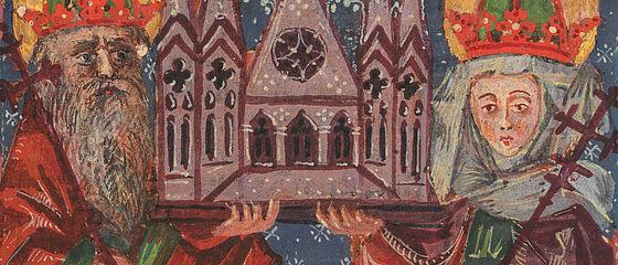 Heinrich und Kunigunde mit einem Modell des Bamberger Doms. Miniatur in einer Psalterhandschrift, Anfang 15. Jh. | SBB, Msc.Add.370, Bl. 14r