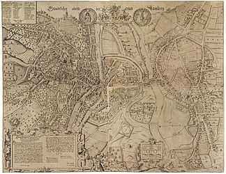 So-called Zweidler-Plan. It is the most significant historical depiction of Bamberg as the Prince-Bishoprics capital and residential city in the bird's-eye view (montage). Copperplate engraving of four plates by Peter Zweidler, 1602 | SBB, V B 22/1-4