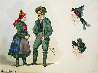 Farmer couple wearing traditional clothing, and two female headdresses. Watercolour painting by Martha Macready, Bayreuth 1844 | SBB, I R 87i