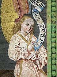 Angel on the single surviving leaf of an otherwise lost antiphonary. Nuremberg, Hans Pleydenwurff and workshop, ca. 1460 | SBB, I Qa 18