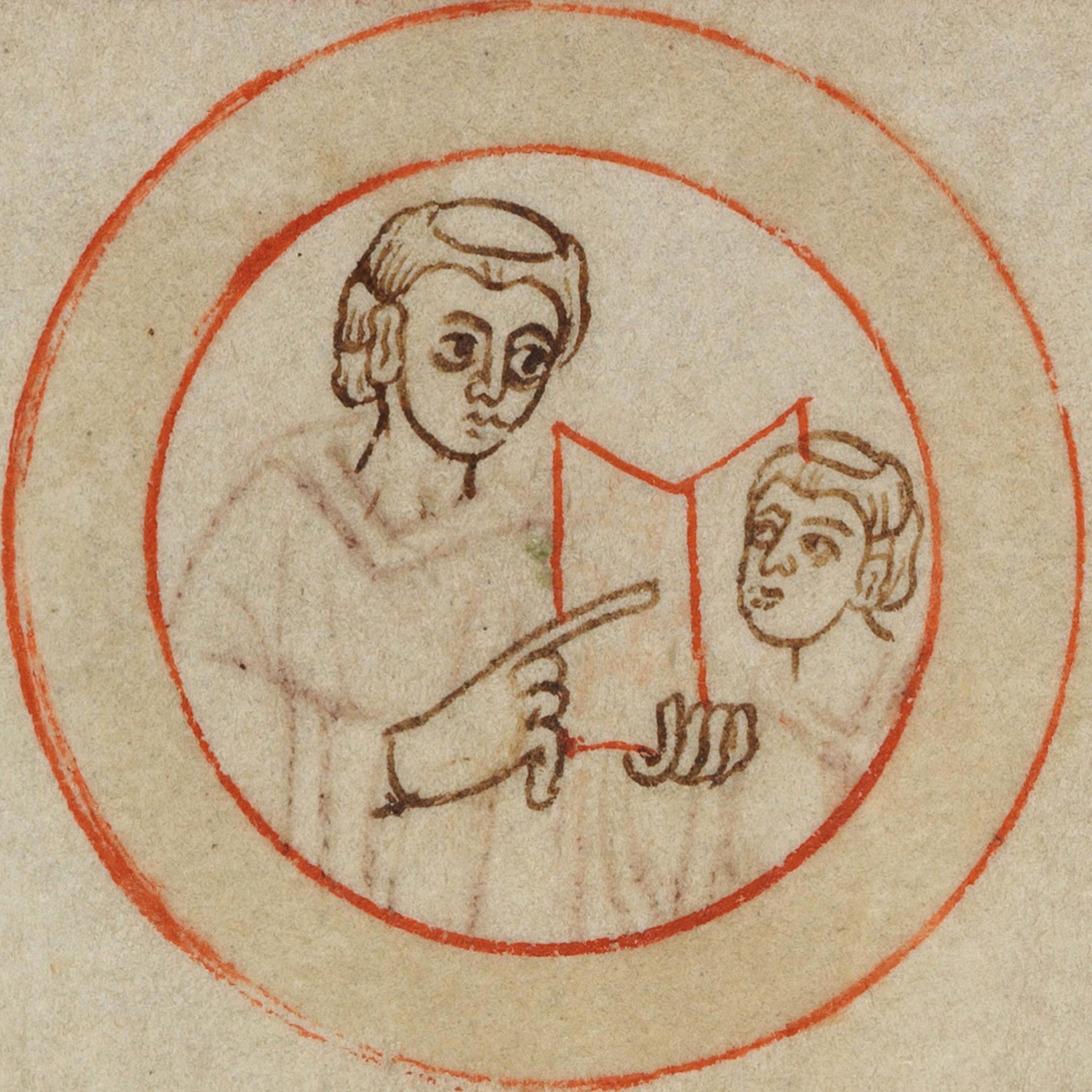 Im Schutz des Engels – 1000 Jahre Kloster Michaelsberg. 26. Juni bis 2.  Oktober 2015. Mönch und Novize in einem Medaillon des Bamberger  Schreiberbilds | SBB ...