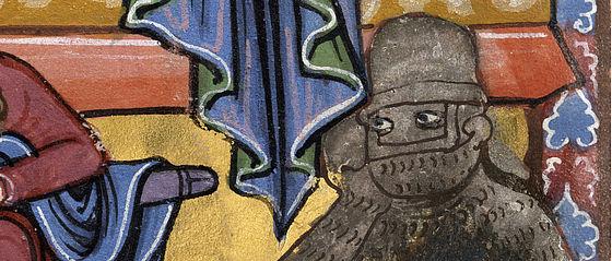 Vermummter Wächter. Detail aus der Miniatur zur Auferstehung Christi aus dem Bamberger Psalter. Regensburg (?), 1220/30 | SBB, Msc.Bibl.48, Bl.115v