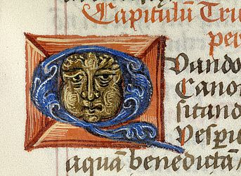 Initial with a face, painted in opaque colours and found in a Breviary. Halle, 1532 | SBB, Msc.Lit.119, fol. 50r