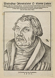 Portrait of Martin Luther. Woodcut by Lucas Cranach the Younger, 1551 | SBB, I L 26