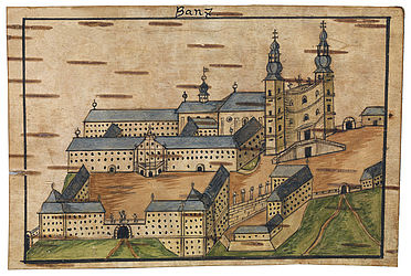 Banz Abbey. Colourised drawing on birchbark by Cölestinus Stöhr | SBB, V C 6