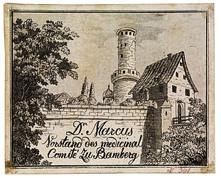 Business card of Adalbert Friedrich Marcus (1753–1816), physician in Bamberg; it shows the Altenburg from the West. Aquatint by Friedrich Sebastian Neuberger | SBB, V B 248/3
