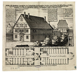 View of the exterior and floor plan of the so-called Malefizhouse in Bamberg, a prison for assumed witches. Etching by Peter Isselburg (or Matthäus Merian the Elder?), 1627 | SBB, V B 211m