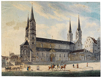 Bamberg Cathedral seen from the north. Colourised lithograph by Eugen Neureuther. Bamberg, Lachmüller, 1821 | SBB, HVG 21/80