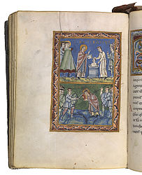 Baptism and martyrdom of St Boniface. Miniature in a Sacramentary. Fulda, early 11th century | SBB, Msc.Lit.1, fol. 126v