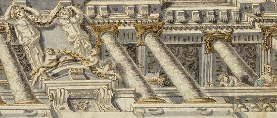 Entwurf für das illusionistische Deckengemälde des Kaisersaals der Neuen Residenz in Bamberg. Aquarellierte Federzeichnung von Melchior Steidl, um 1707–1709 | SBB, OFS.G S 1