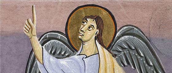 Weisender Engel. Miniatur aus der Bamberger Apokalypse. Reichenau, um 1010 | SBB, Msc.Bibl.140, Bl. 13v