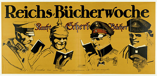 Poster for the 1916 Reichsbücherwoche (Imperial book week), designed by Hans Rudi Erdt. Berlin: Hollerbaum & Schmidt, 1916 | SBB, XI A 1049