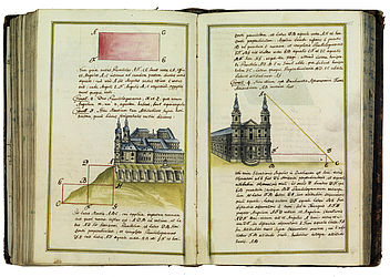 Views of Banz Abbey and the Basilica of the Fourteen Holy Helpers found in a paper manuscript by Johann Baptist Roppelt OSB, who stood out as a cartographer and illustrator. Banz, 1772 | SBB, HV.Msc.555, fols. 154v-155r