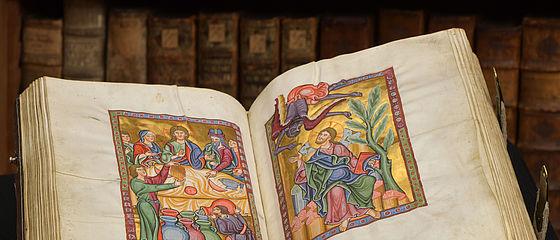 Der Bamberger Psalter, präsentiert im Repräsentationsraum des ehemaligen fürstbischöflichen Archivs | SBB, Msc.Bibl.48, Bl. 60v-61r