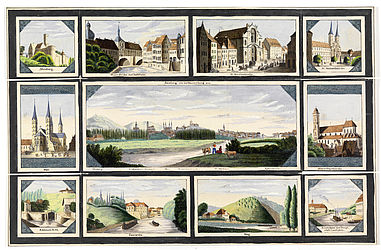 """Neuestes Bamberger Vergissmeinnicht"" (newest Bamberg forget-me-not) featuring a view of Bamberg seen from the Wunderburg; it is framed by ten single-views of Bamberg. Bamberg, Lachmüller, 1843 