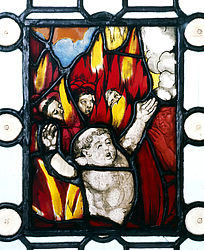 Poor souls in the fire. Stained glass painting from the Joseph Heller collection, Nuremberg, 1st quarter of the 16th century | SBB