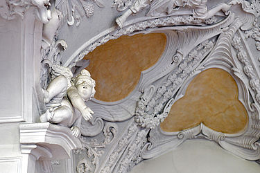 Angel by Antonio Giuseppe Bossi (1699–1764) on the reading room's stucco ceiling | SBB