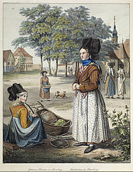Female farmers of Bamberg in their traditional clothing. Copperplate engraving, 19th century | SBB, MvO D II 24b