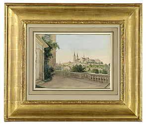 Michaelsberg Abbey and St Getreu church, seen rom the rose garden. Watercolour painting by Johann Christoph Erhard (1795–1822) in a gilt frame | SBB, I P 70g