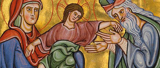 Darbringung im Tempel. Miniatur aus dem Bamberger Psalter. Regensburg (?), 1220/30 | SBB, Msc.Bibl.48, Bl. 9r