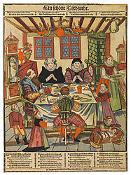 An Augsburg burgher family at table. Colourised woodcut by Abraham Bach, Augsburg, ca. 1680 | SBB, VI G 155