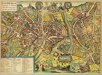 Map of Bamberg on one leaf. Colourised copperplate, early 17th century | SBB, V B 23a