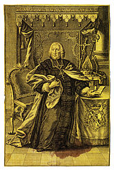 Adam Friedrich von Seinsheim, Prince-Bishop of Bamberg. Single-sheet woodcut on yellow silk | SBB, V A 81a