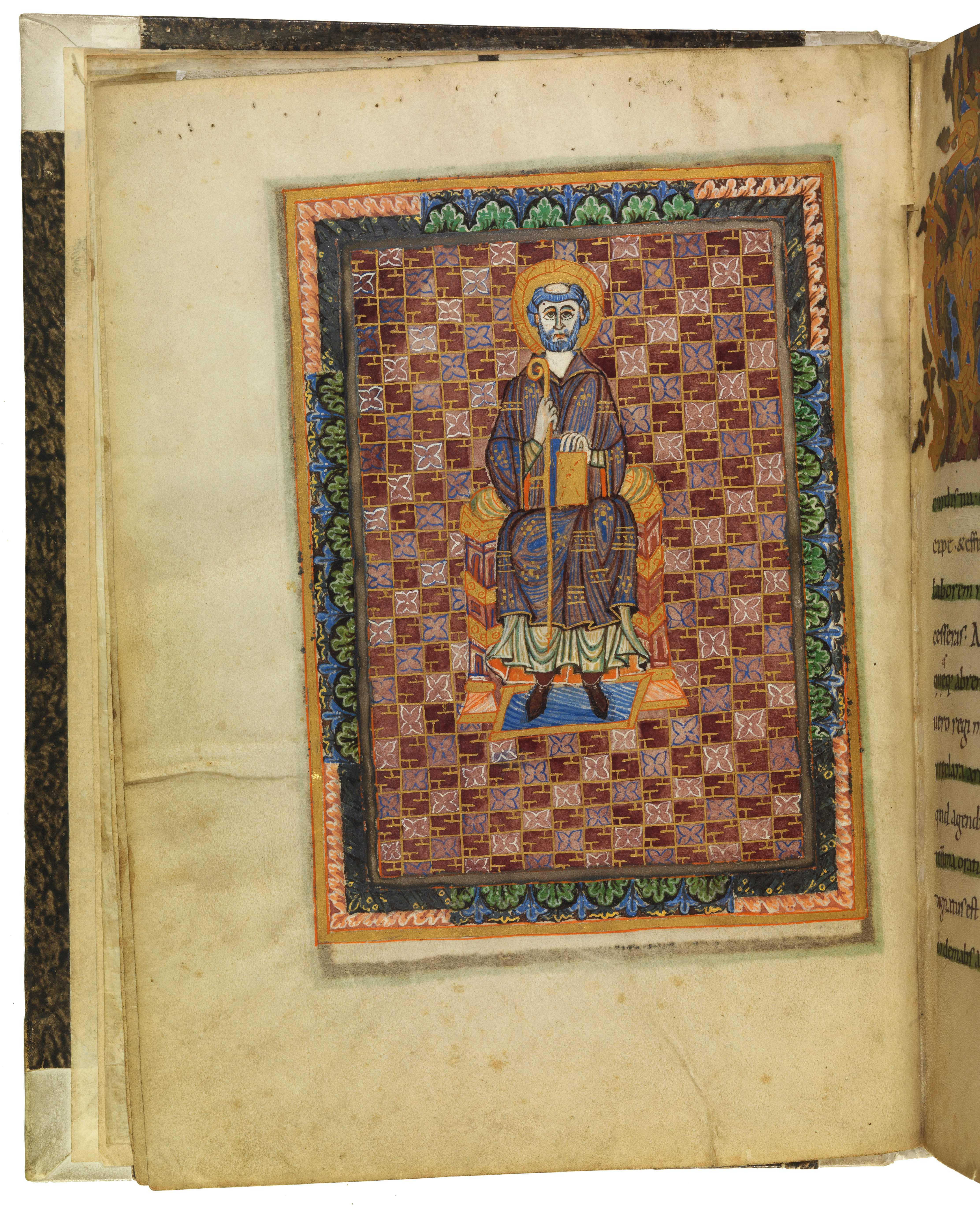 Heiliger Benedikt mit Mönchsregel und Krummstab im Regelbuch aus  Niedermünster | SBB, Msc.Lit